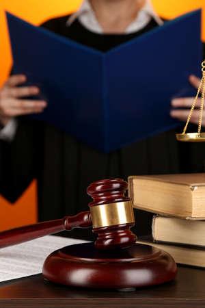 verdict: Judge read verdict on orange background