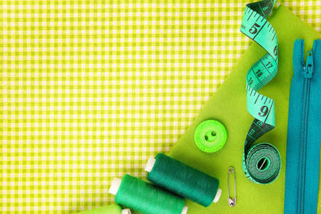 craft button: Sewing accessories and fabric close-up