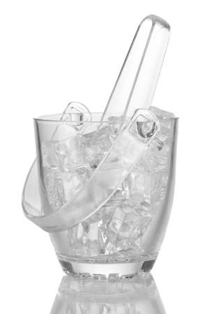 Glass ice bucket isolated on white photo
