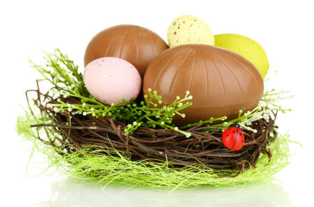 Composition of Easter and chocolate eggs in nest isolated on white photo