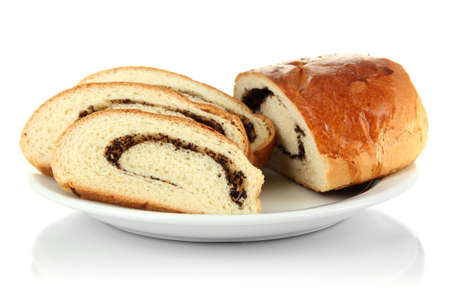 Loaf with poppy seeds on color plate, isolated on white Stock Photo - 17864395