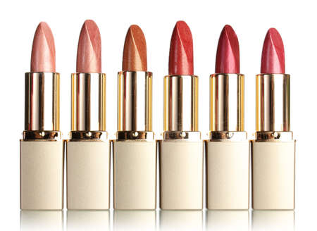 red lipstick: Beautiful lipsticks, isolated on white Stock Photo