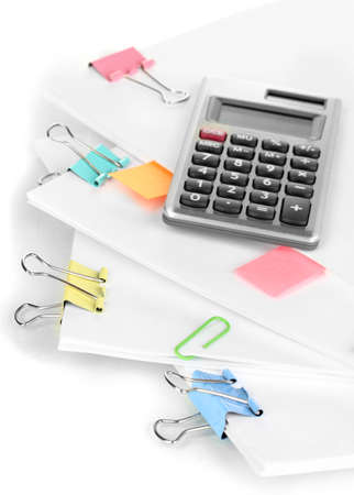 business matter: Documents with binder clips close up