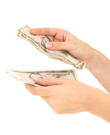 Woman recounts dollars, close up, isolated on white Stock Photo
