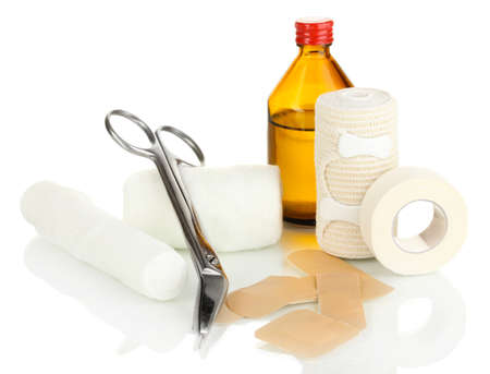 First aid kit for bandaging isolated on white Stock Photo - 17941172