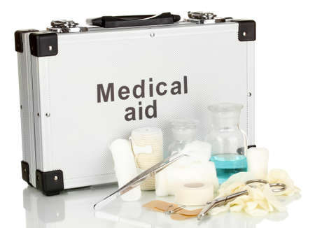 First aid kit for bandaging isolated on white Stock Photo - 17944217