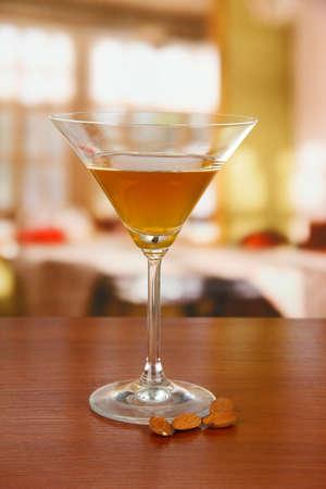 Tasty color liquor, on bright background Stock Photo - 17957792