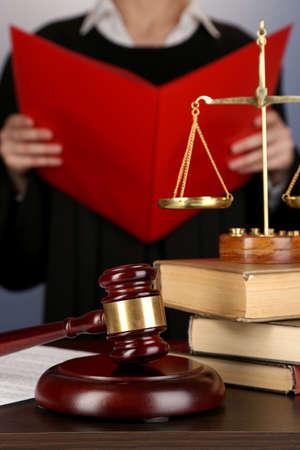 verdict: Judge read verdict on purple background