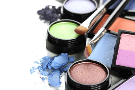 makeup face: Beautiful bright eye shadows isolated on white