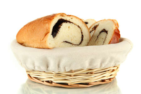Loaf with poppy seeds in wicker basket, isolated on white Stock Photo - 18041290