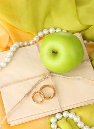 the green: Conceptual photo wedding in apple style Stock Photo