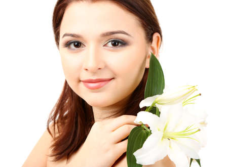 Portrait of beautiful young woman with glamour make up and flower, isolated on white