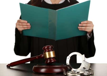 Judge read verdict on white background Stock Photo - 18041243
