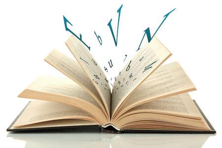 libros volando: Libro abierto con las letras que vuelan fuera de ella aislados en blanco Foto de archivo