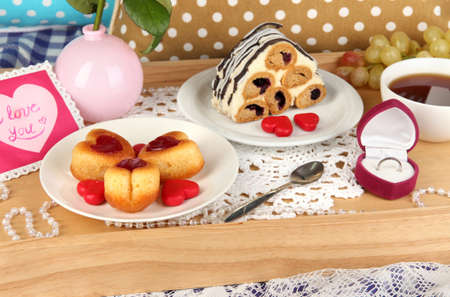 Breakfast in bed on Valentine's Day close-up Stock Photo - 18088611