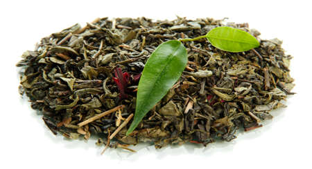 Dry tea with green leaves, isolated on white Stock Photo