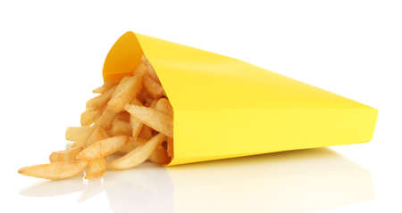 French fries in paper bag isolated on white photo
