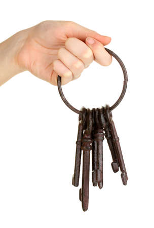 Bunch of old keys in hand isolated on white Stock Photo - 18072191