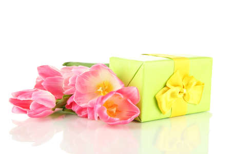 Pink tulips and gift boxes, isolated on white Stock Photo - 18072227
