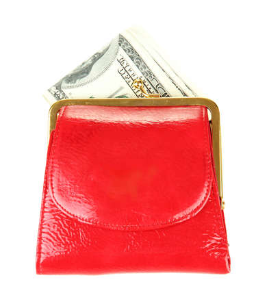 Purse with hundred dollar banknotes, isolated on white Stock Photo - 18072213