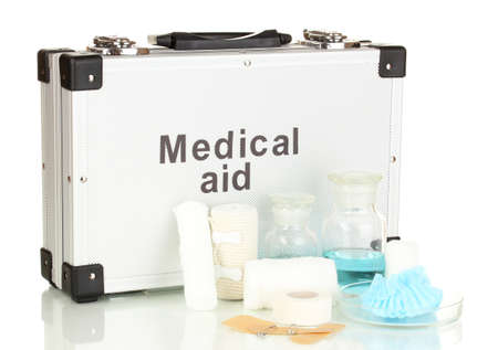First aid kit for bandaging isolated on white Stock Photo - 18130495