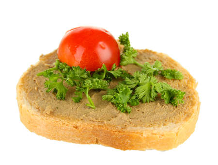 Fresh pate on bread, isolated on white photo