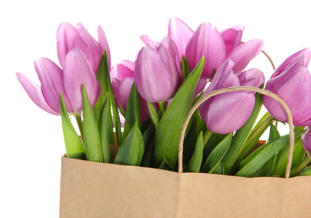Beautiful bouquet of purple tulips in paper bag, isolated on white photo