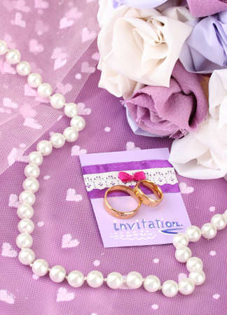 Conceptual photo: wedding in violet color style Stock Photo