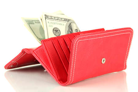 Purse with hundred dollar banknotes, isolated on white Stock Photo - 18185784