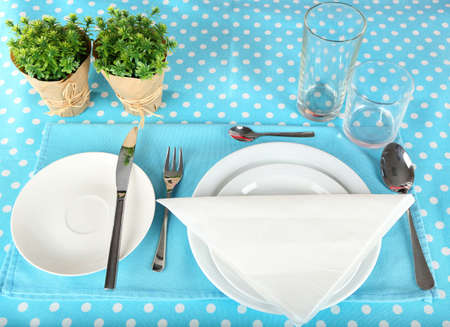 Table setting for breakfast Stock Photo