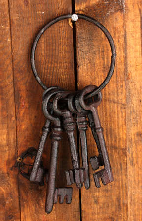 Bunch of old keys hanging on wooden wall photo