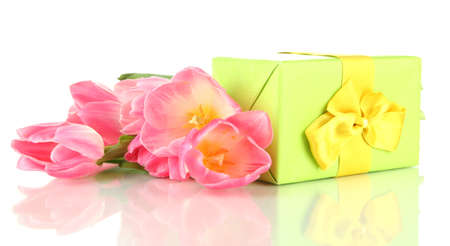Pink tulips and gift box, isolated on white Stock Photo - 18239138