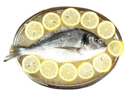 Fresh fish of dorado on tray with  lemon and parsley isolated on white photo