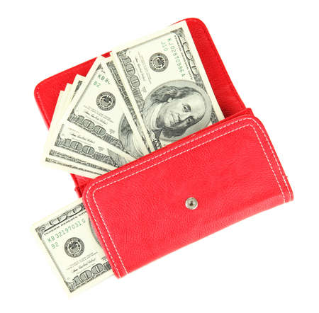 Purse with hundred dollar banknotes, isolated on white Stock Photo - 18313356