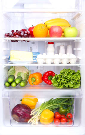 refrigerator with food: Refrigerator full of food