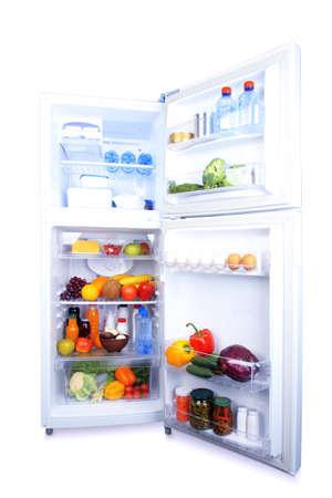 refrigerator with food: Refrigerator full of food
