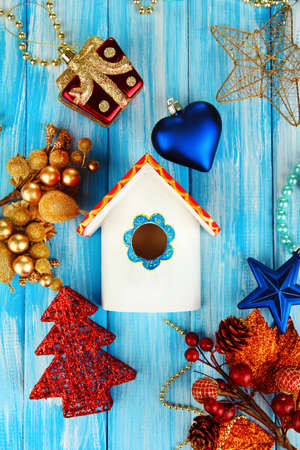 Decorative Nesting Box And Christmas Decorations On Blue ...
