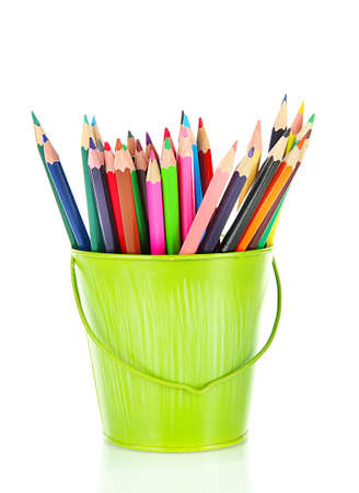 Colorful pencils in pail isolated on white Stock Photo - 18315837
