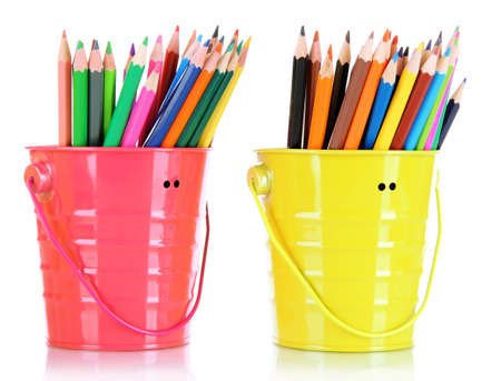 Colorful pencils in two pails isolated on white Stock Photo - 18315918