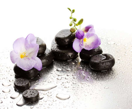 beauty spa: Spa stones and purple flower, on wet background
