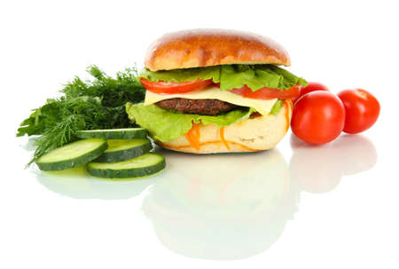 Big and tasty hamburger isolated on white Stock Photo - 18322604