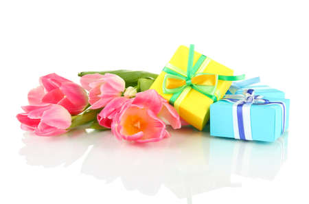 Pink tulips and gift boxes, isolated on white Stock Photo - 18322503