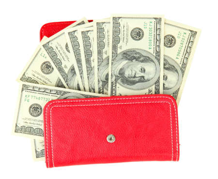 Purse with hundred dollar banknotes, isolated on white Stock Photo - 18323253