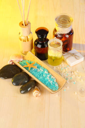 Sea spa elements on yellow background photo