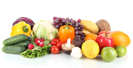 Different fruits and vegetables isolated on white Stock Photo - 18322575