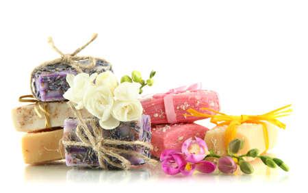 handmade soap: Natural handmade soap, isolated on white