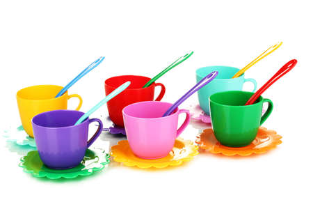 baby cutlery: Childrens plastic tableware isolated on  white