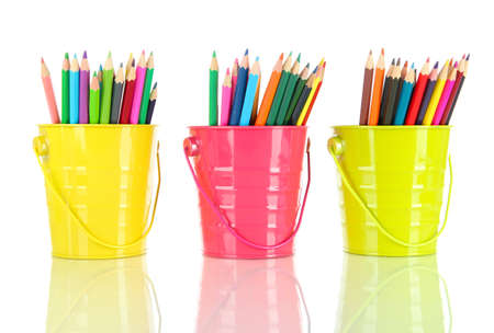 Colorful pencils in three pails isolated on white Stock Photo - 18472546