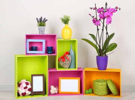 home decorating: Beautiful colorful shelves with different home related objects