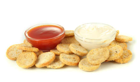 Crackers  and sauces, isolated on white photo